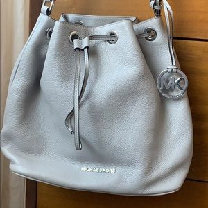 Michael Kors grey bucket style bag- real leather
